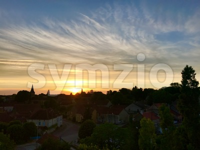 Small village panorama sunset view, France Stock Photo
