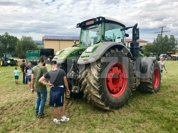 Stuttgart, Germany - July 23, 2017: German tractor manufacturer Fendt is exhibiting its latest top model 1050 Vario during the ...