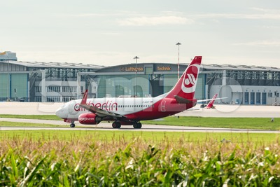 AirBerlin plane in front of Lufthansa hangar at Stuttgart airport Stock Photo
