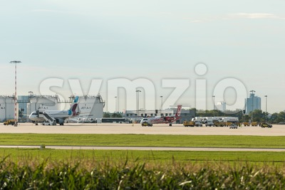 AirBerlin plane next to Eurowings plane at Stuttgart airport Stock Photo