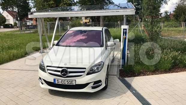 Merceds B-CLass electric car being charged Stock Photo