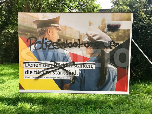 Vandalized CDU billboard for the German Parliamentary Elections Stock Photo