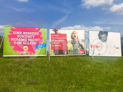 Billboards by major parties for the German Parliamentary Elections Stock Photo