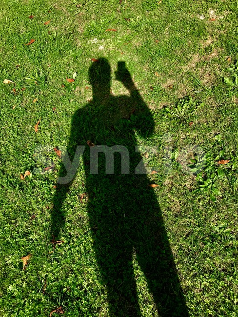 Shadow of a male person with smartphone on the grass