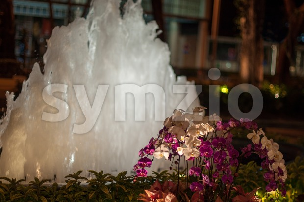 Glowing Night Fountain Stock Photo