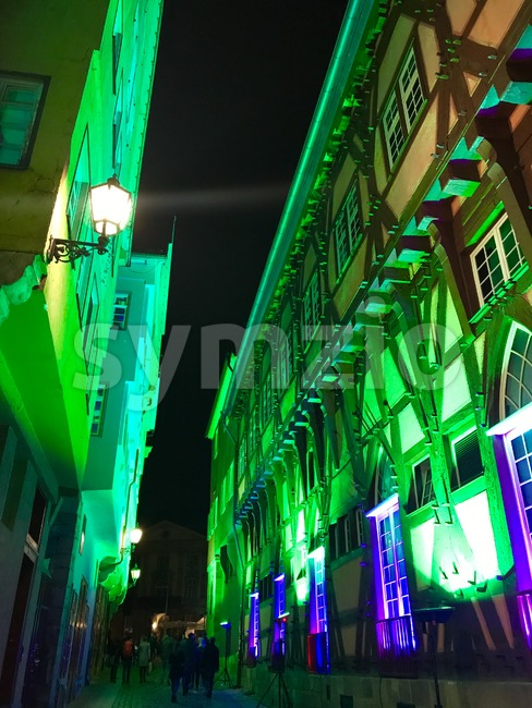 Illuminated town hall in the city of Esslingen, Germany Stock Photo
