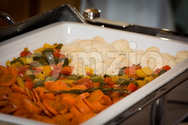 vegetables in chafing dish heater Stock Photo