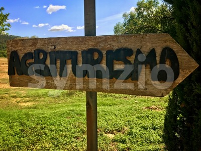 Agriturismo sign in Tuscany - Bed and Breakfast Stock Photo