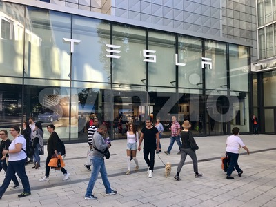 Tesla Motors showroom in Stuttgart, Germany Stock Photo