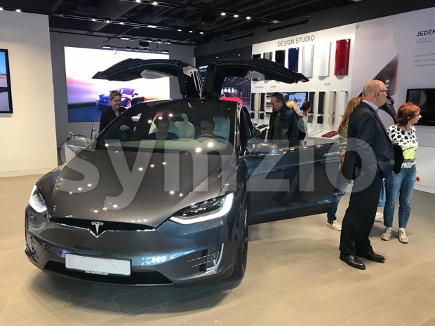 Tesla Model X in the showroom in Stuttgart, Germany Stock Photo