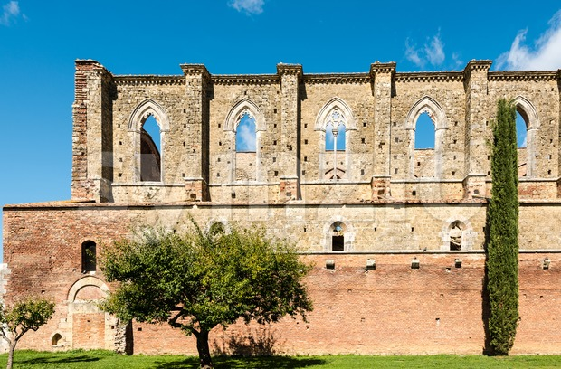 Abbey of Saint Galgano, a former Cistercian monastery without roof today in the valley of the Merse River - San ...