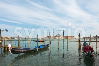 Gondolas moored in Venice, Italy Stock Photo