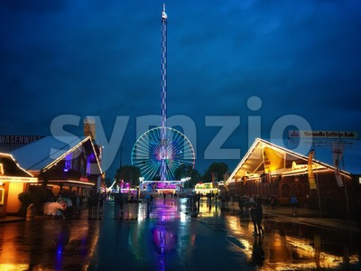 Rainy evening on the Stuttgart Wasen Festival Stock Photo