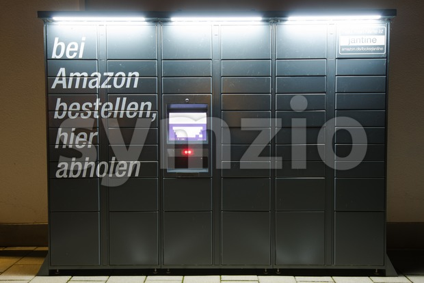 Augsburg, Germany - October 31, 2017: An Amazon Locker station located next to an Aldi supermarket allows for customers to ...