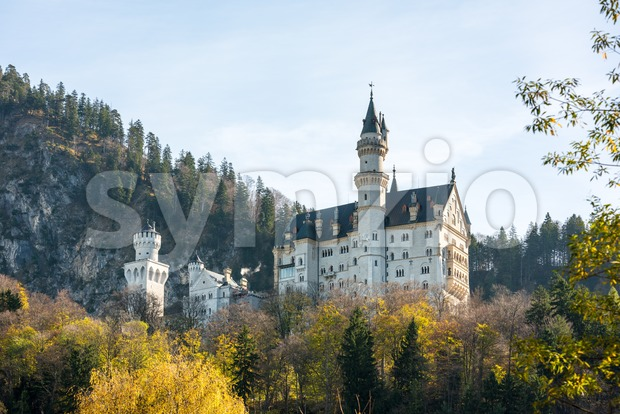 Beautiful view of world-famous Neuschwanstein Castle, the 19th century Romanesque Revival palace built for King Ludwig II, with scenic mountain ...