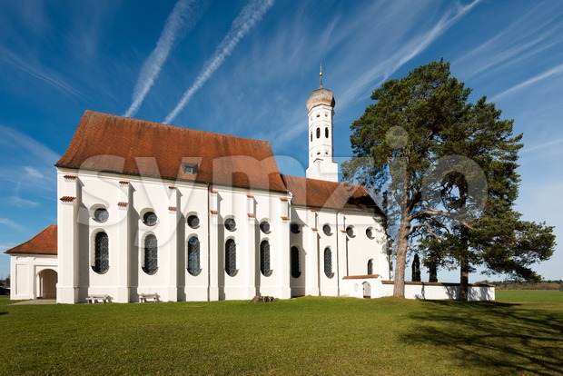 St. Coloman church near Fussen in Bavaria, Germany Stock Photo