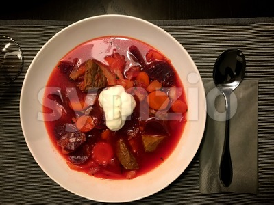 Borsch - beetroot soup in a bowl Stock Photo