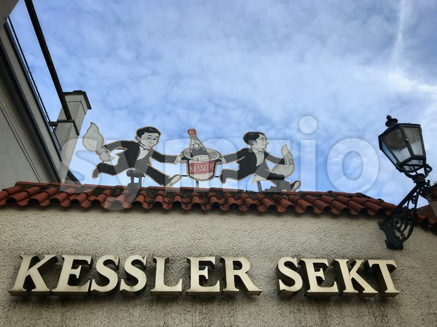 Old logo on the building of Kessler Sekt winery Stock Photo