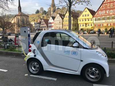An electronic car charging in the city of Essslingen Stock Photo