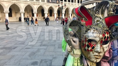 Doge's Palace and Masks at San Marco square, Venice, Italy Stock Photo