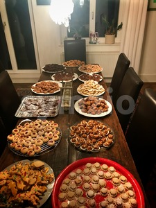 Assorted homemade Christmas cookies Stock Photo