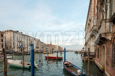 Venice skyline with boats Stock Photo