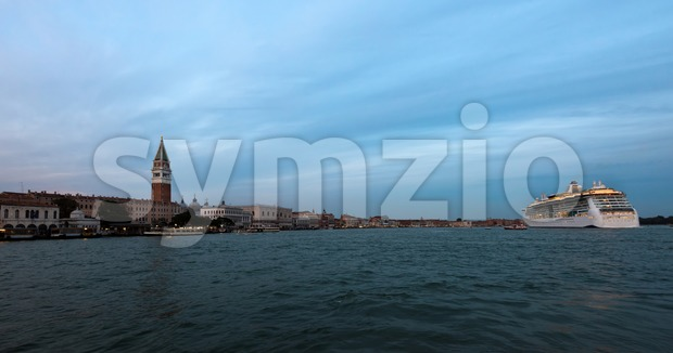 Panorama of Venice, Italy with cruise ship Stock Photo