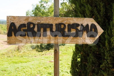 Handmade wooden agriturismo sign Stock Photo
