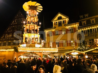 Beautiful medieval Christmas Market in Esslingen, Germany Stock Photo