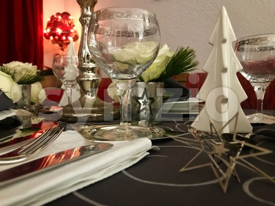 Table setting for celebration Christmas Stock Photo