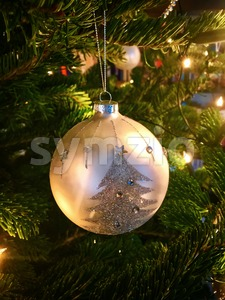 Christmas Decorations On Tree Stock Photo