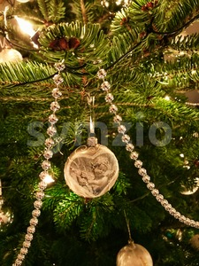 Christmas Decorations On Tree Stock Photo