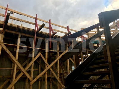 wooden stair on construction site Stock Photo