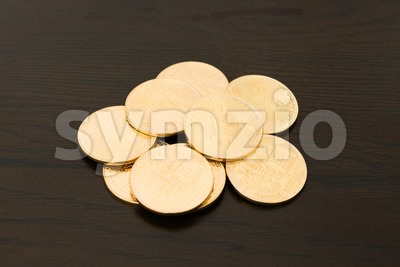 heap of golden bitcoins Stock Photo