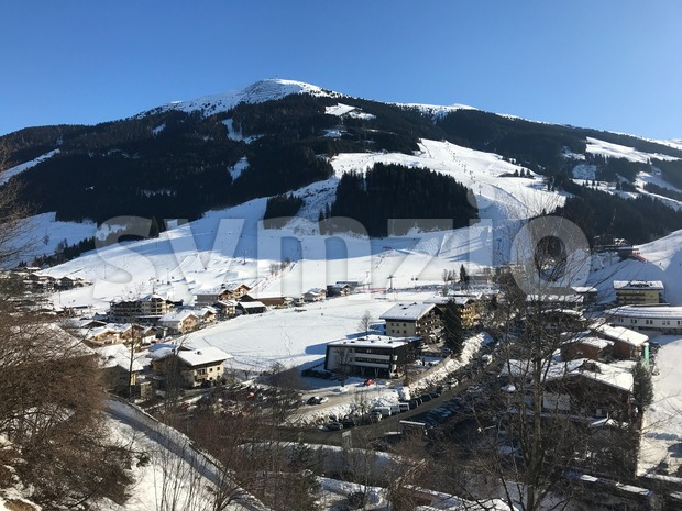 Panorama of the ski resort Saalbach-Hinterglemm in Austria Stock Photo