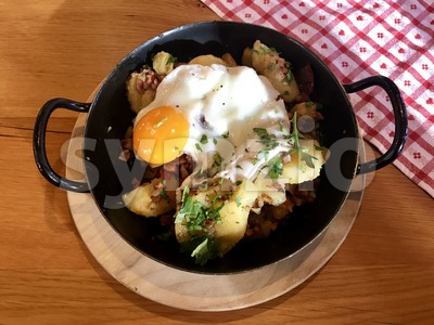 Tiroler Groestl, a traditional dish from Tirol, Austria Stock Photo