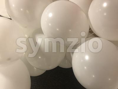 Numerous white balloons Stock Photo