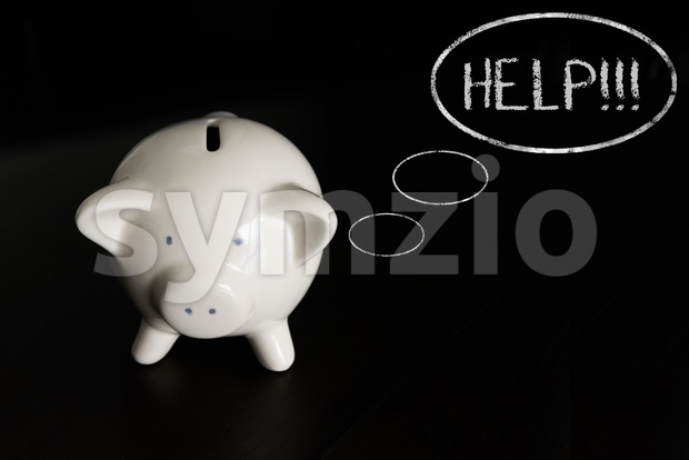 Piggy bank with thought bubbles, thinking HELP Stock Photo