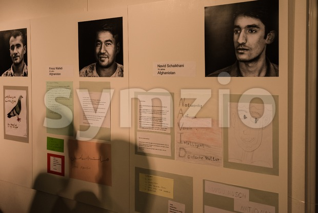 Refugees are telling their stories in the exhibition Angekommen Stock Photo