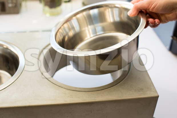 Woman preparing dog food bowl Stock Photo