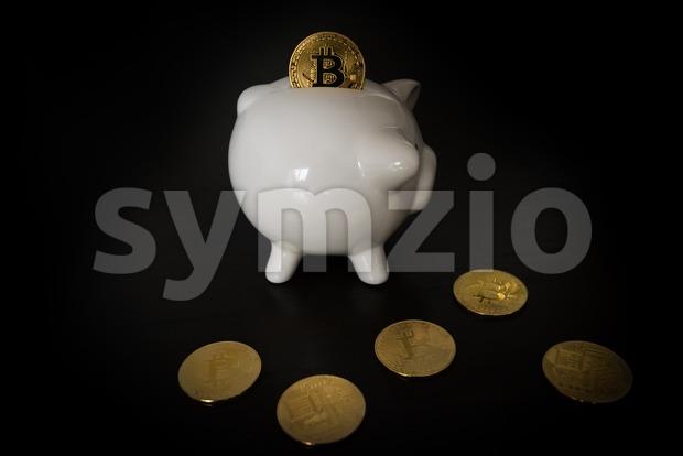 Piggy bank with Bitcoins on dark wooden background. One coin is inserted into the slot however it is to big ...