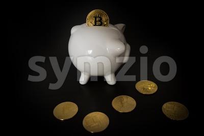 Piggy bank with Bitcoins Stock Photo