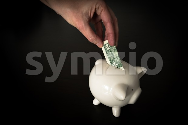 Woman putting a US Dollar bank note into a piggy bank Stock Photo