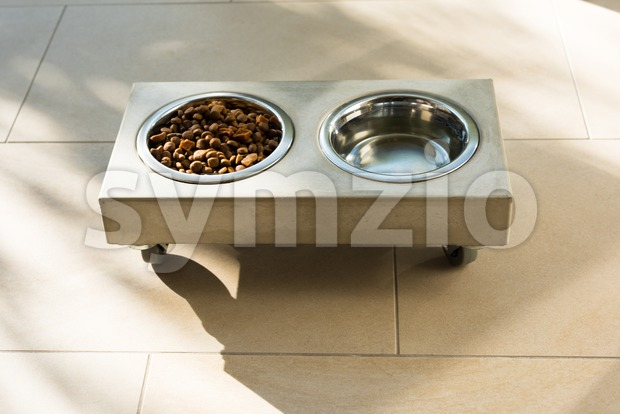 Stylish concrete food bowl with cat food and water placed on the floor on a sunny day