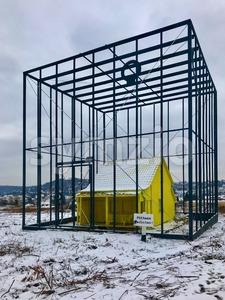 Art Installation Das bedrohte Haus (The threatened house) by German artist Andreas Sarow Stock Photo