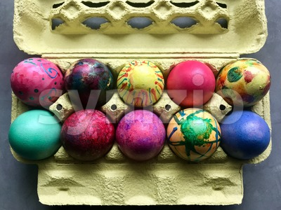 Box with painted easter eggs. Stock Photo