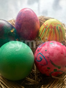 Easter Eggs in straw nest Stock Photo