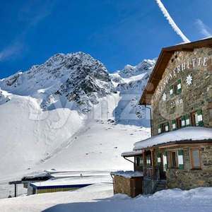 Alpine hut Dresdner Huette in Stubai Stock Photo