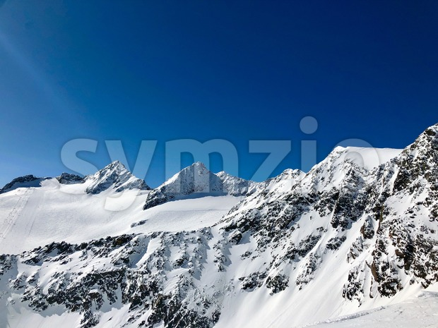 Skiing in the Stubai glacier ski resort in Tyrol, Austria