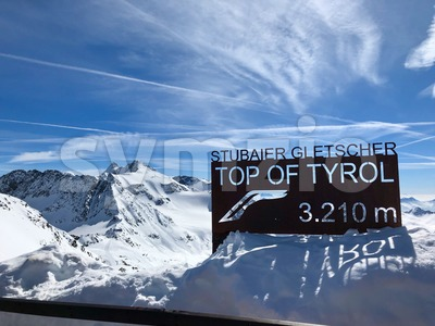 Top of the Stubai glacier ski resort Stock Photo